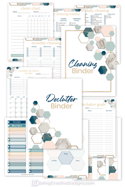 Declutter Cleaning Binder Bundle - Hexagons