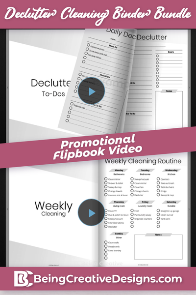 Declutter Cleaning Binder Bundle Promotional Flipbook Video - Minimal Black and White