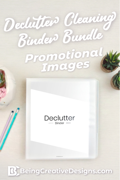 Declutter Cleaning Binder Bundle Promotional Images - Minimal Black and White
