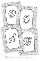 Floral Border Monogram Coloring Pages