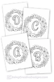 Floral Wreath Monogram Coloring Pages