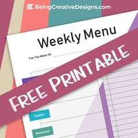 Weekly Menu Freebie Printable