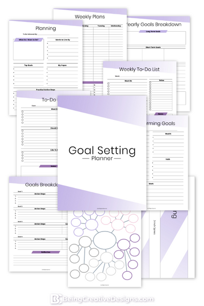 Goal Setting Planner - Minimal Purple
