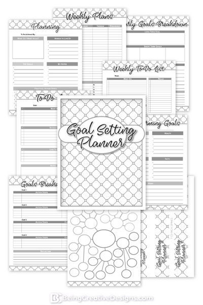 Goal Setting Planner Black and White