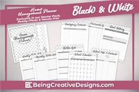 Lifestyle Starter Pack Home Management Planner Black and White