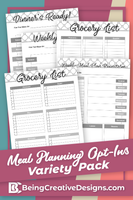 Meal Planning Opt-in Variety Pack - Black and White Style