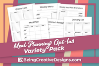 Meal Planning Opt-in Variety Pack - Minimal Black and White