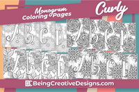 Monogram Coloring Pages - Curly Font