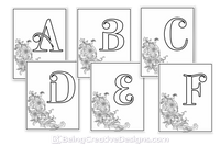 Simple Floral Monogram Coloring Pages {26 Pages}