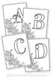 Simple Floral Monogram Coloring Pages