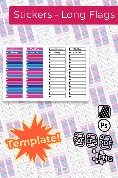 Sticker Templates - Long Flags