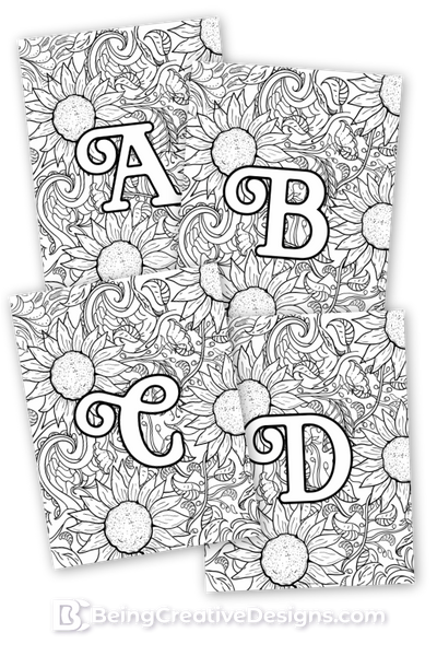 Sunflower Monogram Coloring Pages