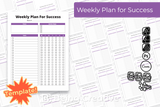 Weekly Plan for Success Template