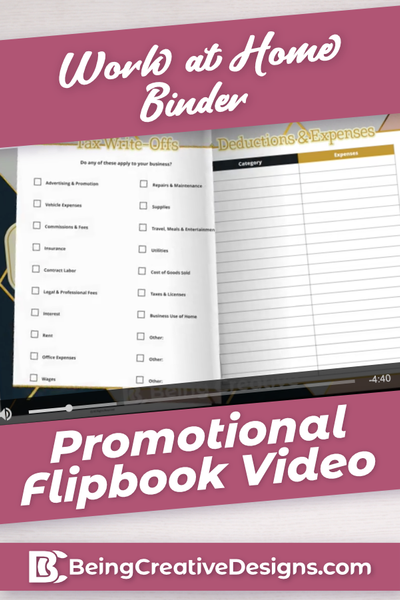 Work at Home Binder Promotional Flipbook Video