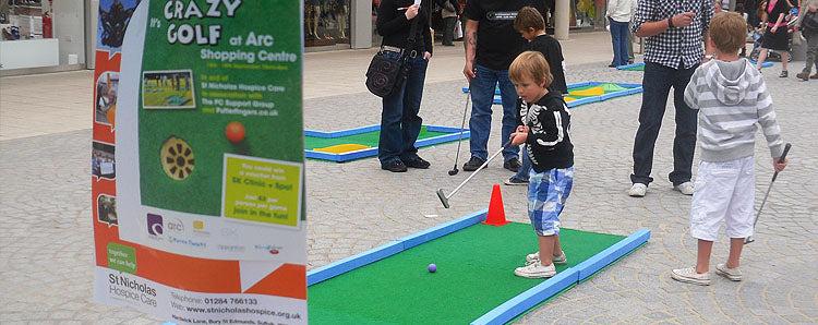 Charity Fundraising Miniature Golf Course Hire for indoor and Outdoor Use