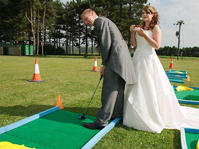Outdoor, indoor wedding games and crazy golf courses