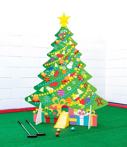 Christmas tree crazy golf obstacle