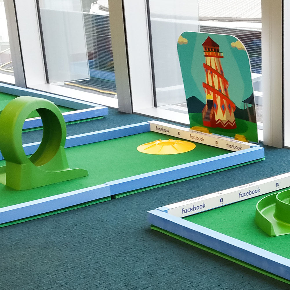 Branded crazy golf courses for corporate events, fundraising, office parties