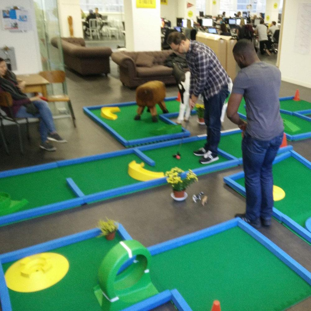 Compact portable crazy golf course