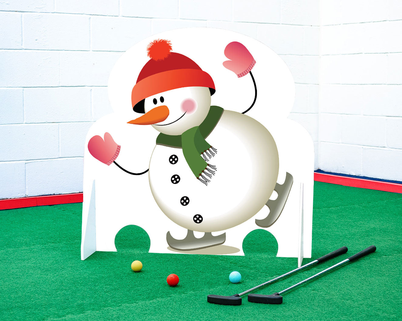 Christmas minigolf obstacle skating snowman