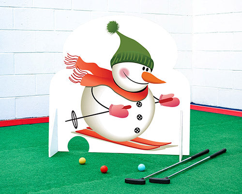Christmas crazy golf obstacle skiing snowman