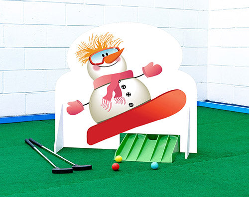 Snowboarding snowman Christmas crazy golf obstacle