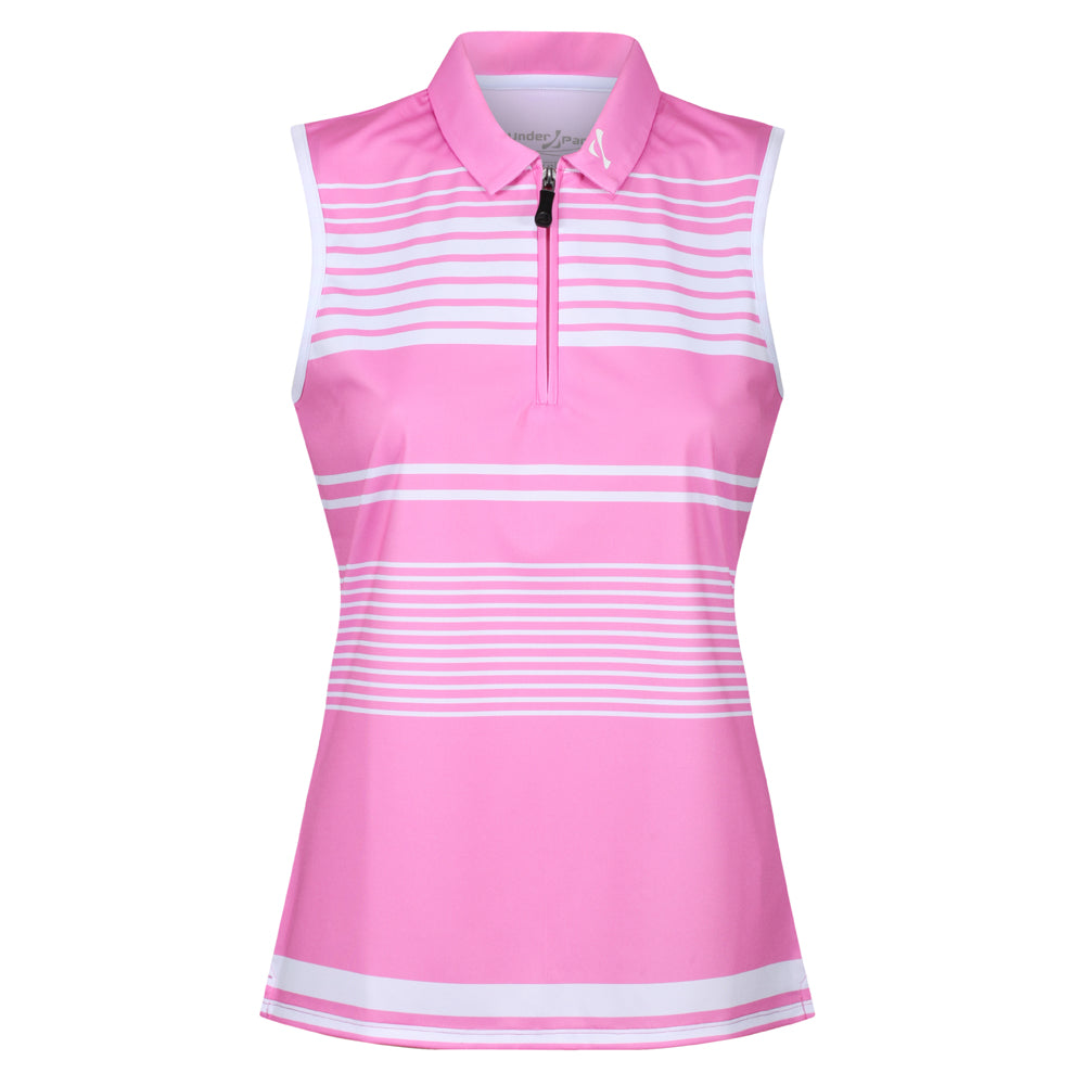 Ladies Zip Neck Sleeveless Polo Shirt