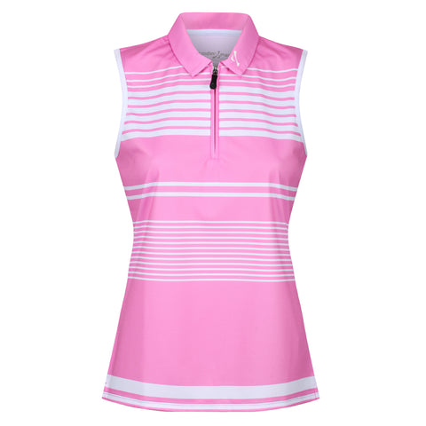 Ladies Zip Neck Sleeveless Polo Shirt - Putterfingers.com