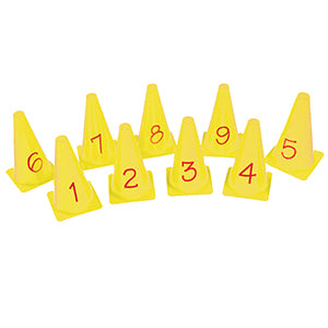 Set of 9 yellow crazy golf cones