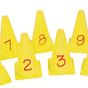 9 yellow mini golf cones