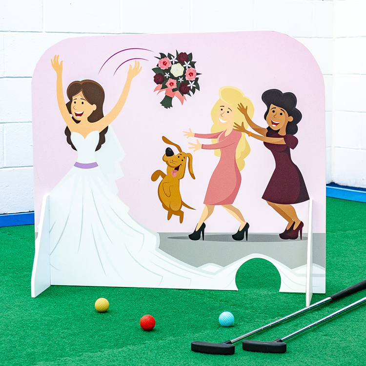 Wedding themed minigolf obstacles bridal bouquet toss