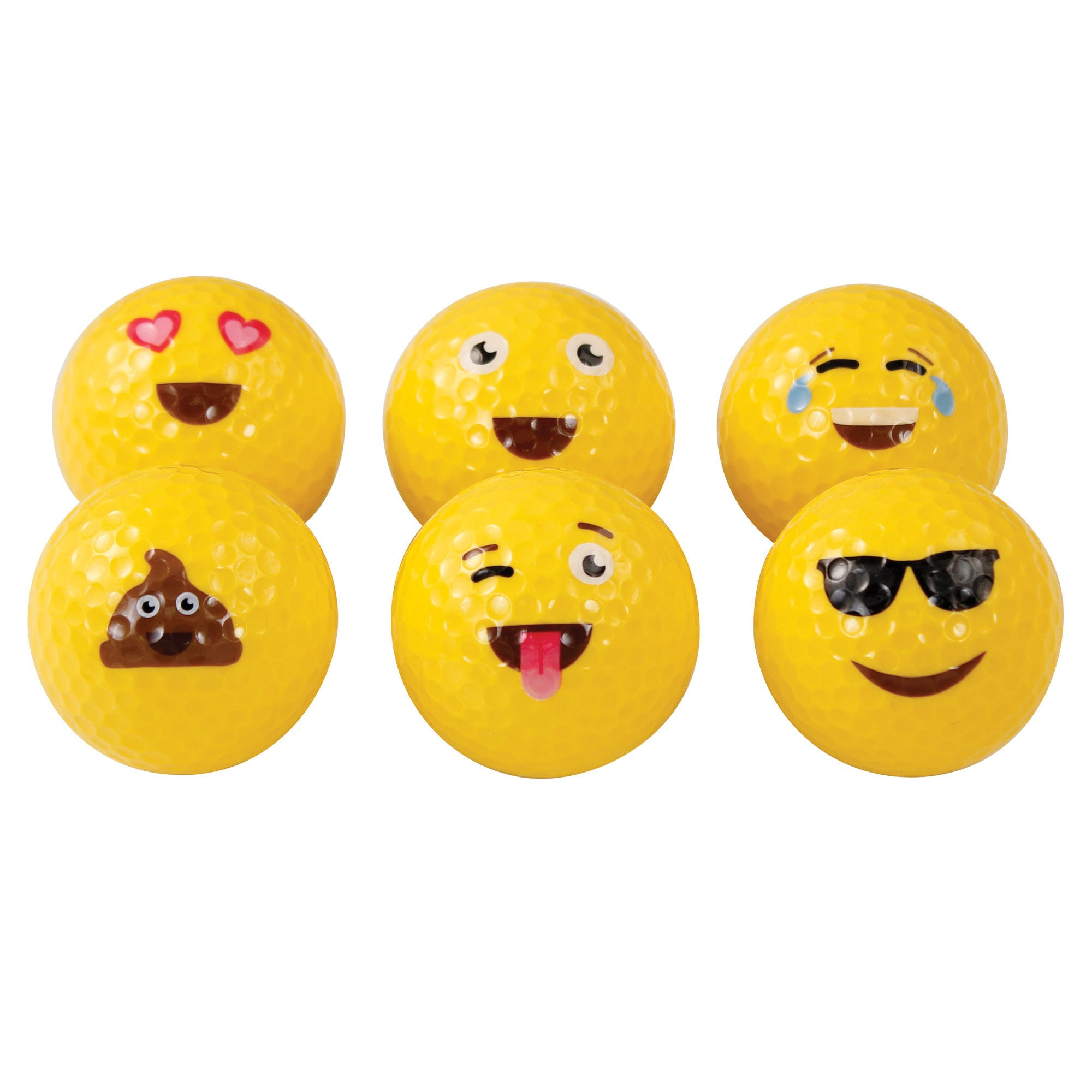 Emoji Golf Balls (Pack of 6 Assorted) - Event Stuff Ltd Owns Putterfingers.com!