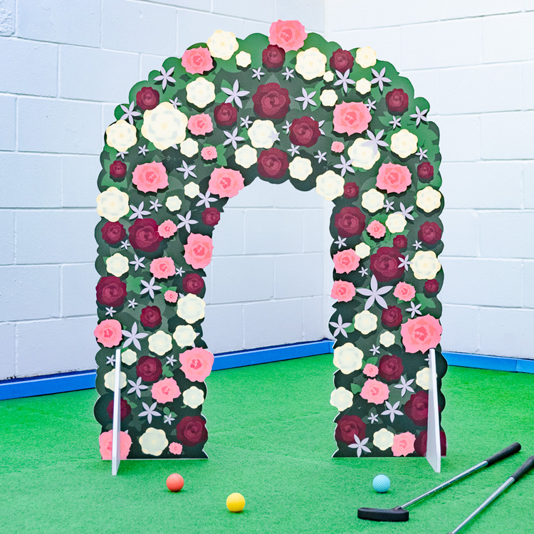 Wedding minigolf obstacles flower arch