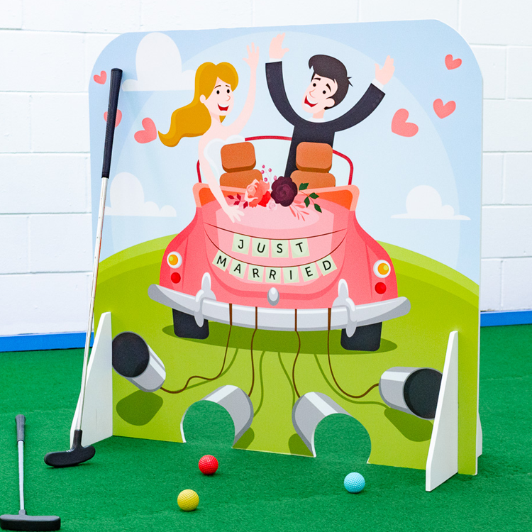Wedding crazy golf obstacle getaway car