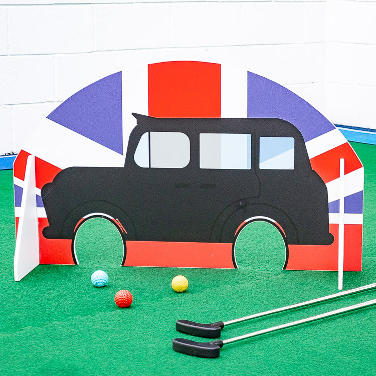 Crazy golf hire obstacle London Black Cab