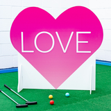 Love heart crazy golf obstacle wedding hire