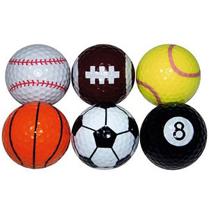 Sport Novelty Golf Ball Gift Set (Pack of 6) - Event Stuff Ltd Owns Putterfingers.com!