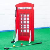 Crazy golf obstacle London red phone box