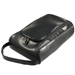 Black Leather Golf Shoe Bag - Putterfingers.com
