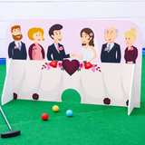 Wedding themed minigolf obstacles two families united
