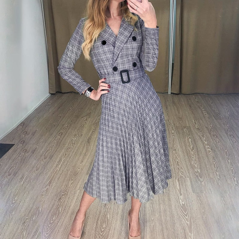 Elegant Button Belt Plaid Blazer Dress