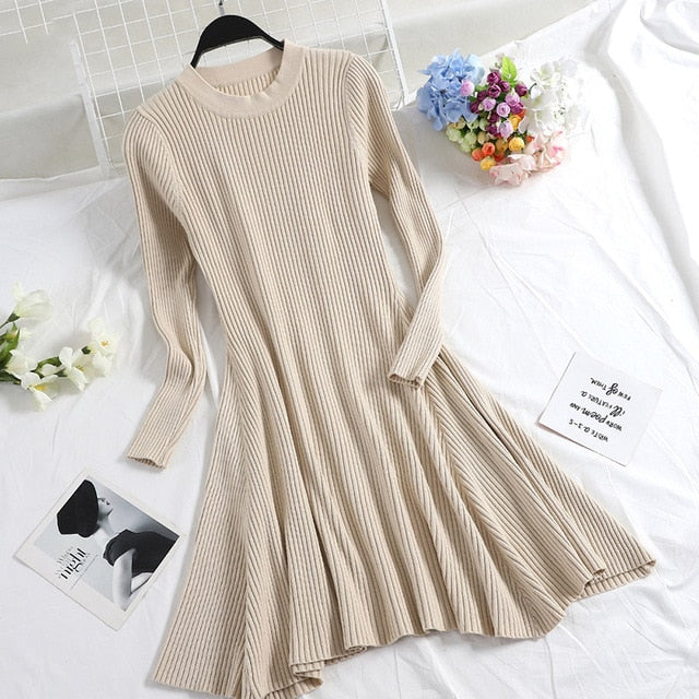 Long Sleeve Mini Knitted Sweater Dress