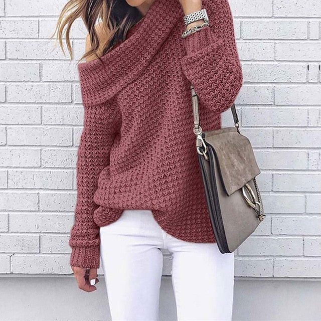 Off-The-Shoulder Knitted Sweater