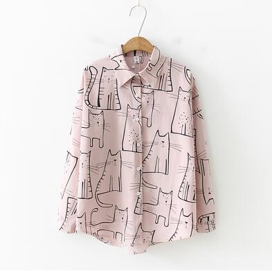 Loose Cartoon Print Long Sleeve Blouse