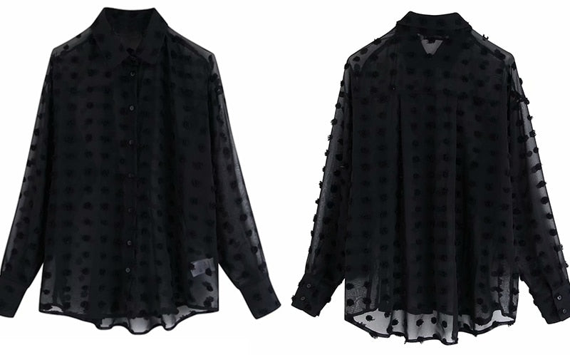 Long Sleeve Elegant Dot Stitching Chiffon Blouse