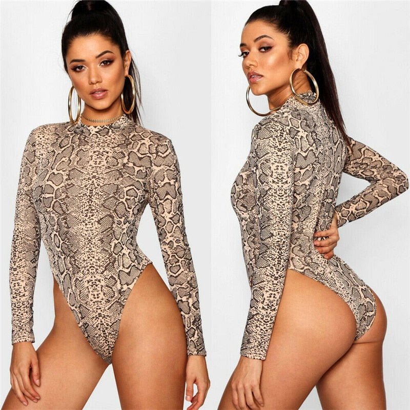 Women Slim fit High Neck Long Sleeve Snake Skin Print Bodysuit Leotard Tops Hot