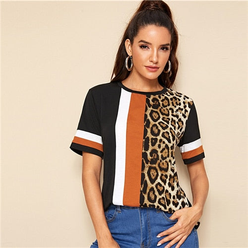Leopard Panel O-Neck Shirt