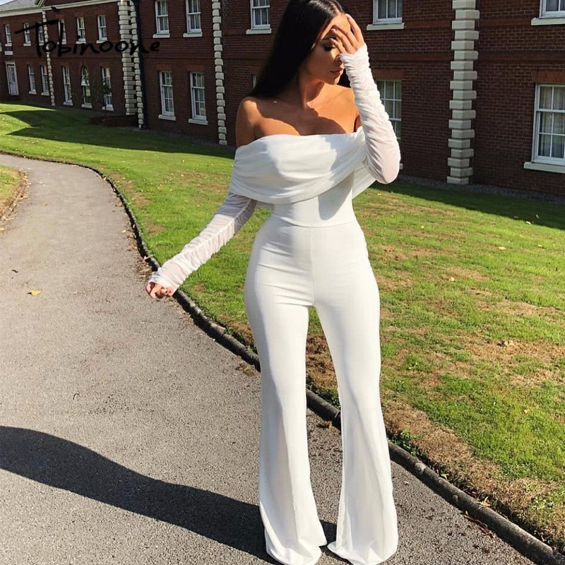 Off-The-Shoulder Casual Jumpsuit