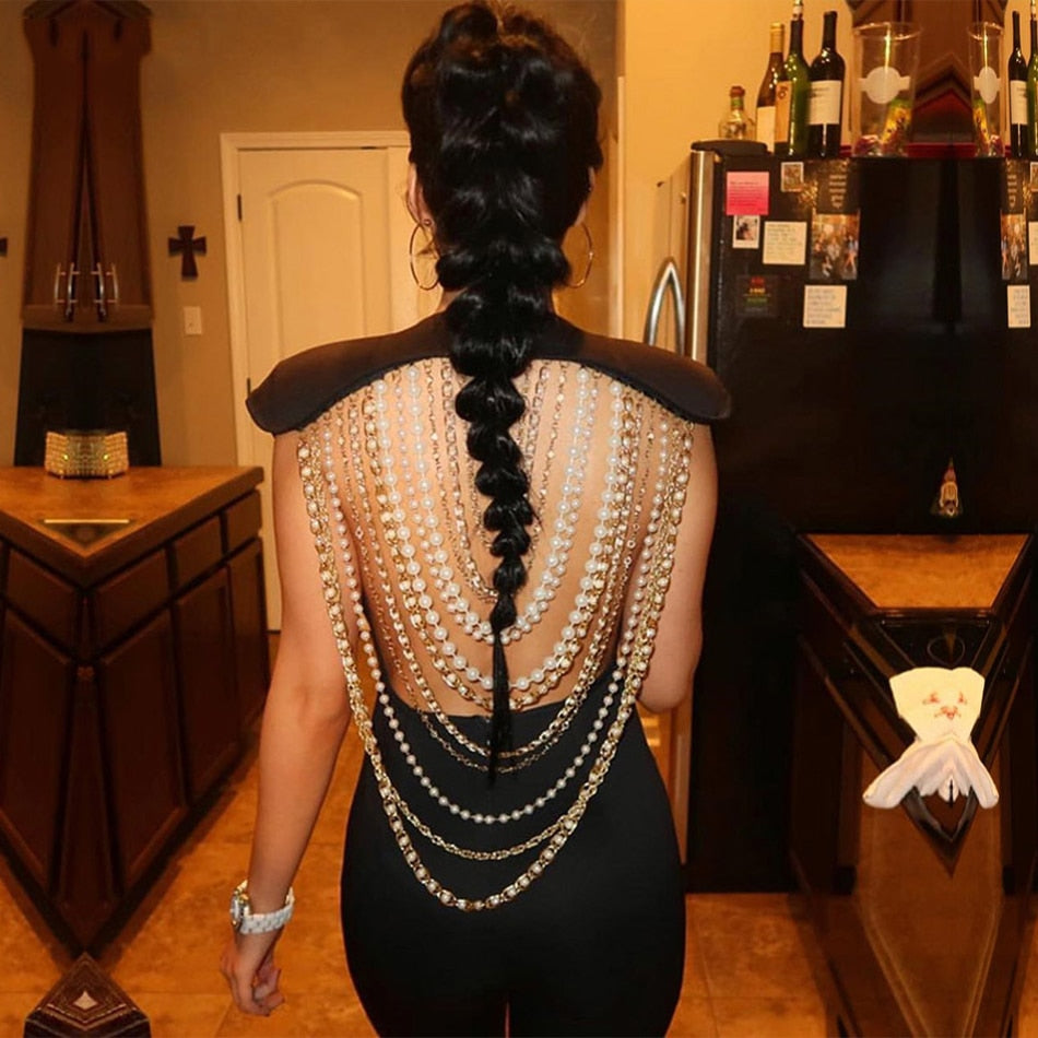 Pearl Beaded Chain Backless Sleeveless Jumpsuit