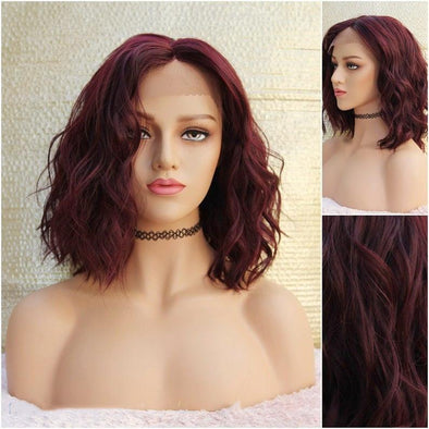 Red Lace Front wig, Beach Wave Burgundy silk lace front Wig, Heat Safe, Natural Parting, For Everyday Use or Cosplay